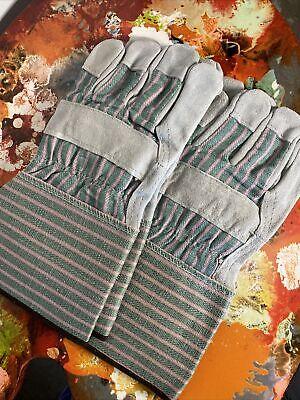 2 Pair Work Gloves 70 Leather 30 Cotton Gloves With Safety Cuff Medium 78747