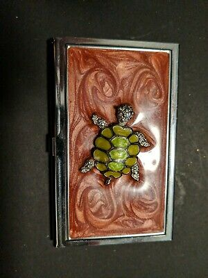 Metal Business Card Holder Case Turtle Decorated