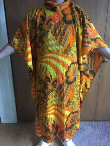 Vintage  Barkcloth Hawaiian MuMu Caftan Dress  OSZ