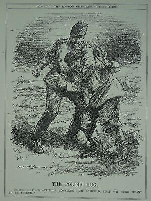 Post WW1 BOLSHEVIST - THE POLISH HUG Original Print 1920 Cartoon