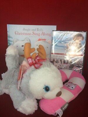 Hallmark Plush Bell w/Christmas Sing Along Book Jingle All the Way DVD Dog Toy