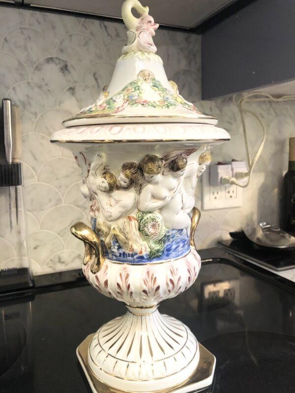 Capodimonte Italy Lidded Urn Vase Satyr Pan Bacchus Mermaids Nude Cherubs Ram