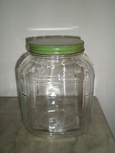 Antique Anchor Hocking Glass Hoosier Cookie Sugar Jar Canister w/ Original Lid