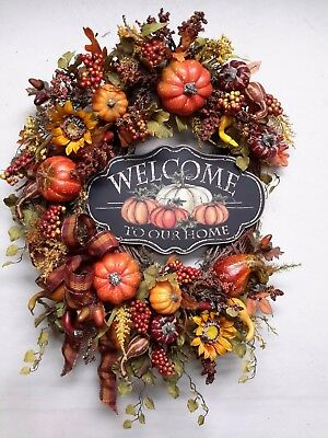 Fall Wreath Autumn Door Decor Harvest Wreath Thanksgiving Rustic Country SALE ()