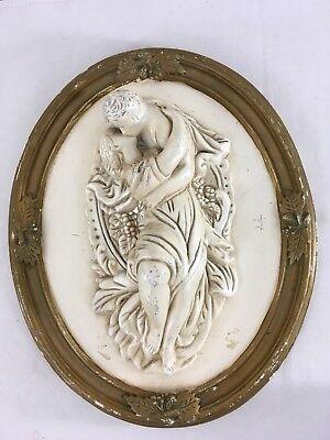 Roman Love Goddess (Antique Vtg Greek Roman Man Woman Love Goddess Plaster Chalkware Wall)