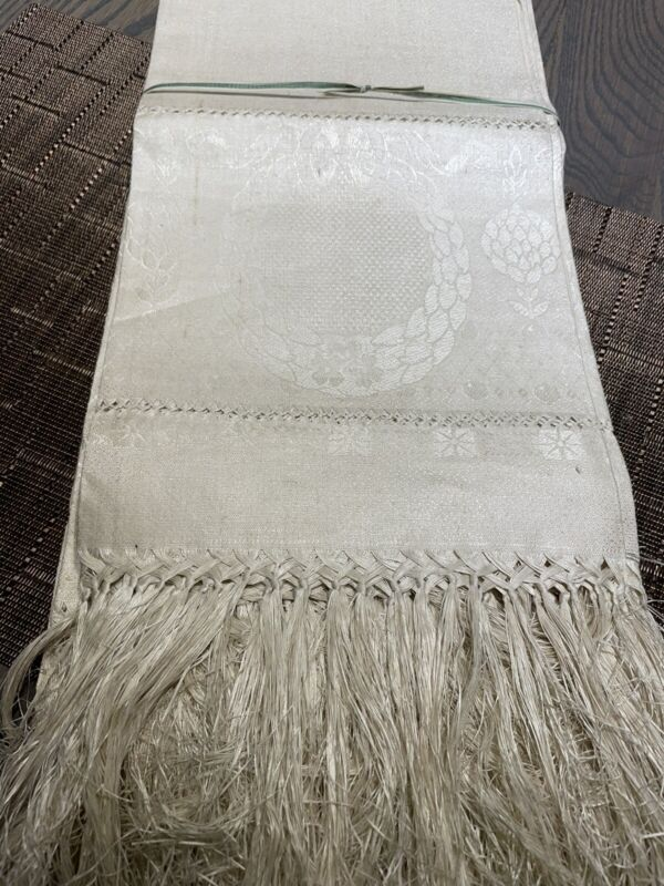 Antique NEW Damask Linen Fringe Show Kitchen Tea Towel Bed & Breakfast