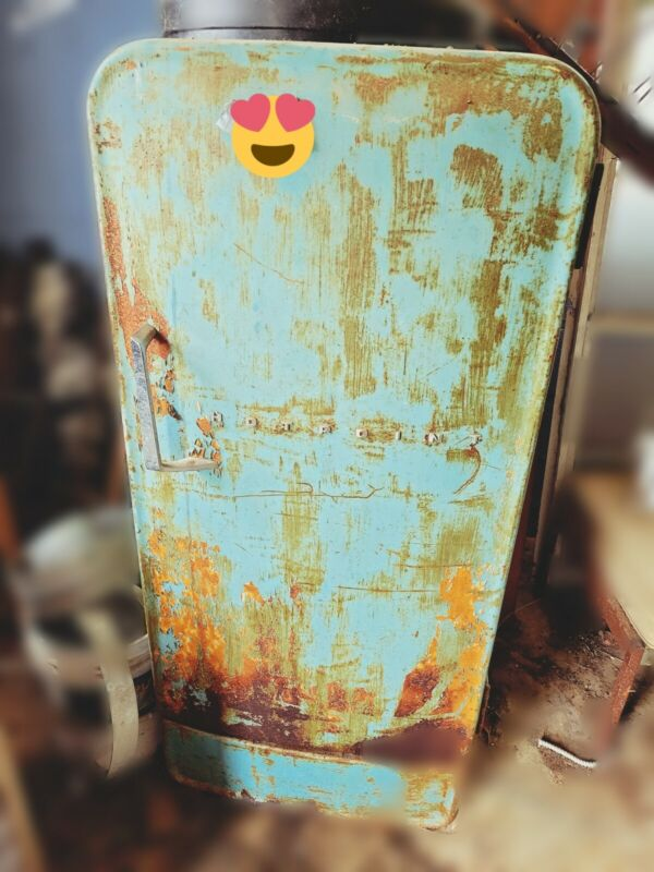 Antique Vintage Hotpoint Refrigerator collectible blue patina. All original.