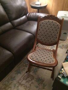 Solid oak folding rocking chair