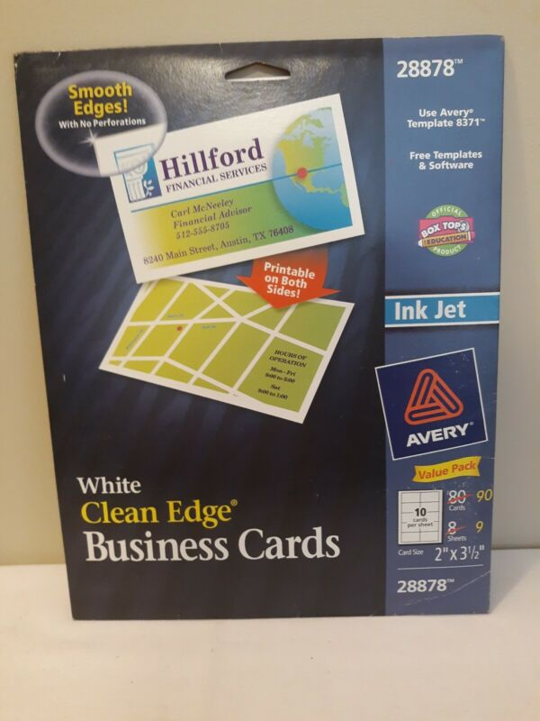 Avery Clean EdgeWhite Business Cards, Ink Jet, 90 2 x 3.5 cards