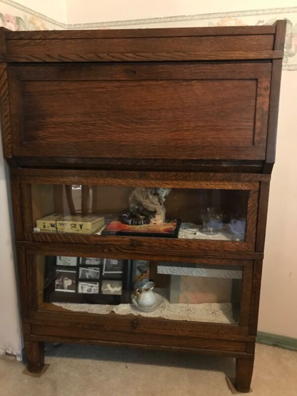 Antique Stack Oak Barrister Bookcase With Drop Lid Desk and Glass