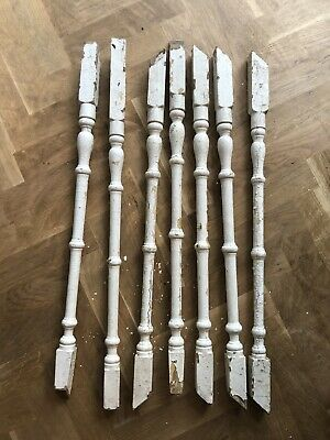 7 Antique Victorian Stair Spindles Rods
