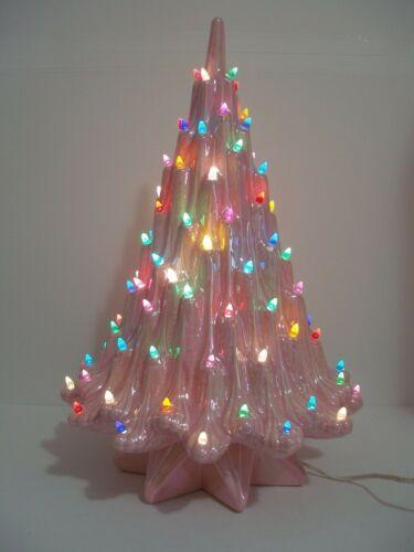 Vtge vOLCANO LAVA irredescent PINK Ceramic CHRISTMAS TREE  ~ WOW
