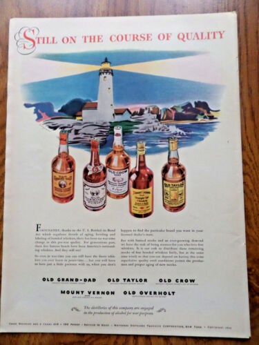 1943 Kentucky Whiskey Ad Old Taylor Grand-Dad Crow Overhold Still on the Course