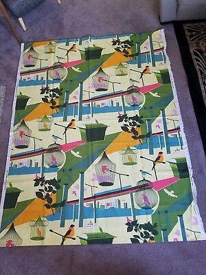 """Lotta Kuhlhorn """"City Birds"""" Upholstery Fabric Cloth 2008 Ikea Sweden 88X60"""""""