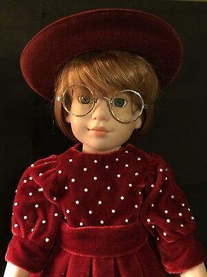 """Magic Attic Doll Megan 18"""" tall, R. Tonner dressed in red velvet outfit and hat"""