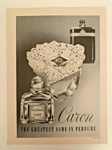 1959 Caron Bellodgia Perfume Bottle Original Vintage Print AD