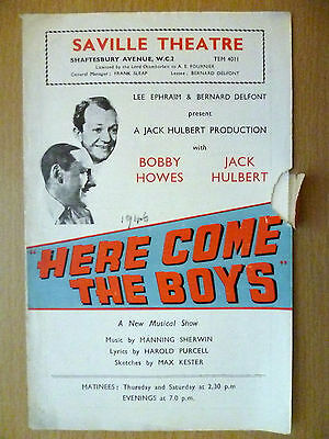 1946 Saville Theatre Programme:Here Come The Boys, Bobby Howers,Jack Hulbert