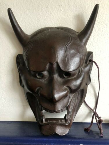 VINTAGE Japanese HANNYA NOH DEMON MASK CAST IRON METAL JAPAN