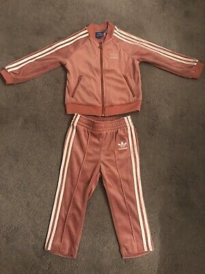 Girl Adidas Pink Velour Tracksuit Age 12-18 Months