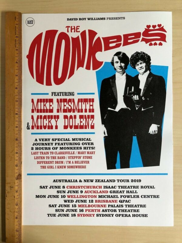2019 THE MONKEES AUTHENTIC TOUR POSTER MIKE & MICKY SHOW NESMITH 11 X 17 INCHES