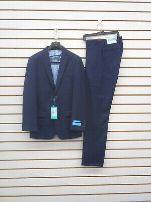 Boys T.O. Blue Navy Blue Soft Texture Fabric Striped Suit Sizes 8 - 20R.& 8-20H.](Boys Suites)
