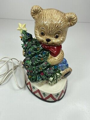 Vintage Ceramic Mold Christmas Bear With Tree Light Up Painted 1974 Care Inc.