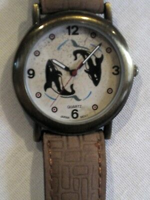ORCA KILLER WHALE WRIST WATCH 2 WHALES JUMPING*BRASS BEZEL*GENUINE LEATHER BAND*
