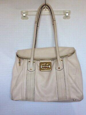 B MAKOWSKY Cream Soft Pebble Leather Handbag Satchel Purse Shoulder Bag Large
