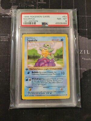 1999 Pokemon TCG Squirtle 1st Edition Shadowless Base Set #63 PSA 8 AMAZING!