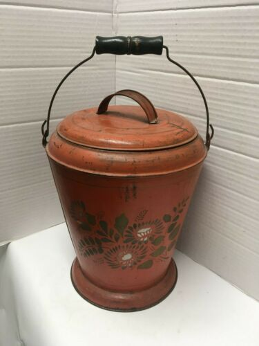 Antique primitive Footed Ash Coal Bucket Toleware Tin with lid