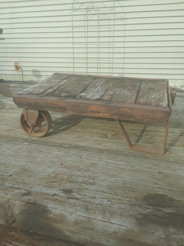 VINTAGE, ANTIQUE INDUSTRIAL, RAILROAD SHIPPING CART, REPURPOSE COFFEE TABLE