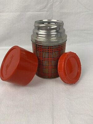 VINTAGE ALADDIN METAL RED GOLD PLAID THERMOS WIDE MOUTH 10 OZ BEST BUY