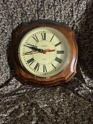 Verichron Quartz Oak Wood Octagon Wall Clock AA Battery Operated Vintage Classic