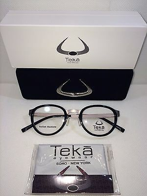 NEW TEKA 430 COL.1 BLACK EYEWEAR SOHO NEW YORK  46-21-140MM HANDMADE