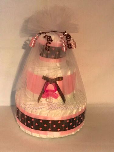 L@@K...Precious Diaper Cake for a Girl - Baby Shower