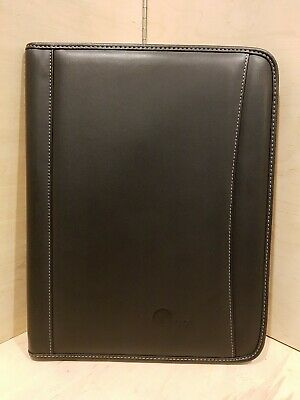 Leeds Black Leather Eds Notepad Organizer Binder Folder Padfolio