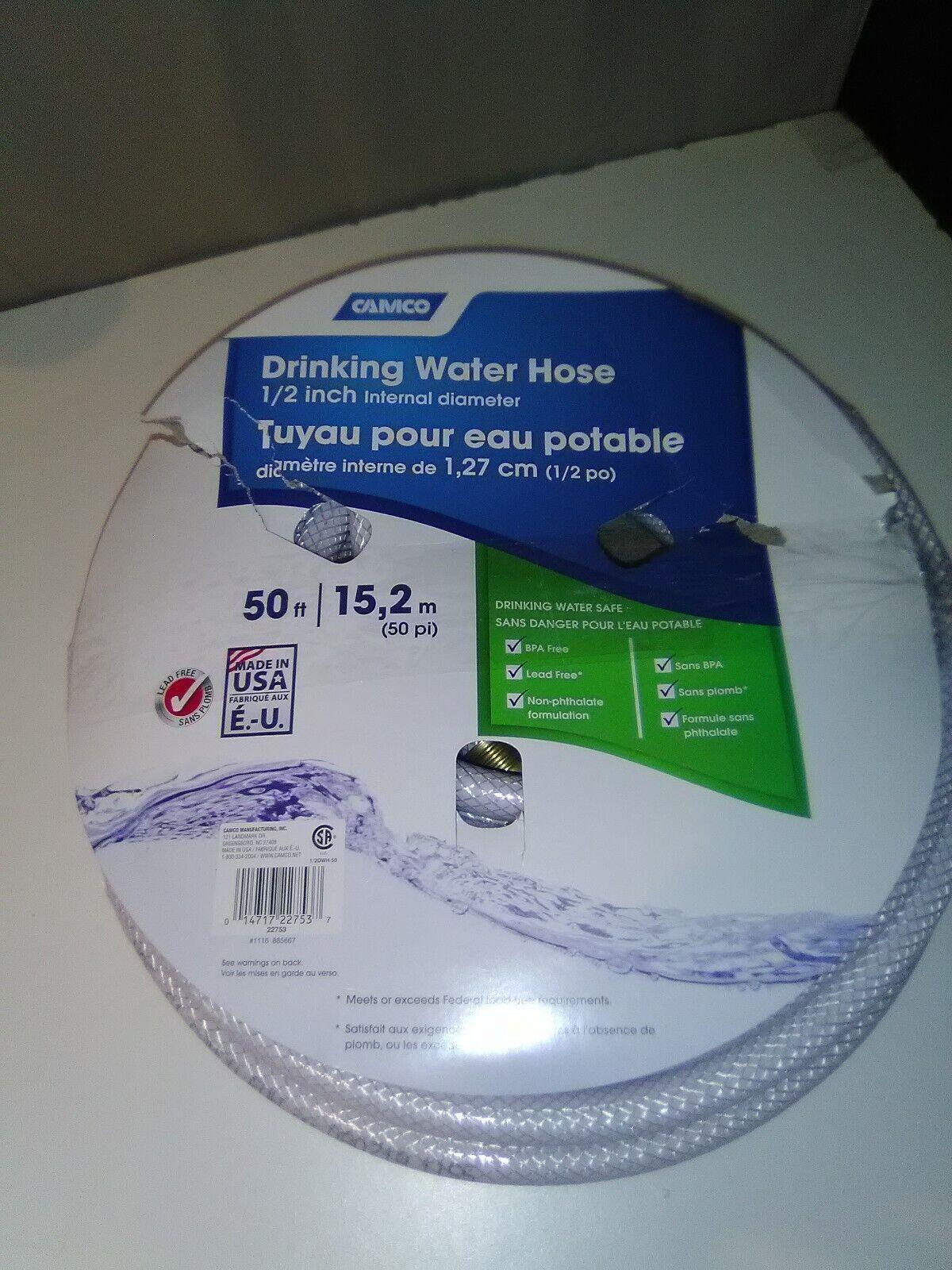 """Camco Garden Water Hose RV Camper Trailer PVC TastePURE Drinking Safe 1/2"""" 50 Ft"""