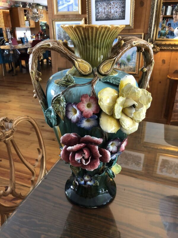 "Antique Barbotine Majolica French Urn Vase Hand Applied Flowers  - 20.5"" tall"