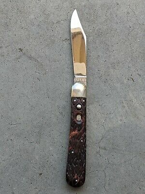 Vintage George Schrade Hunters Press Button Knife presto Bridgeport Connecticut