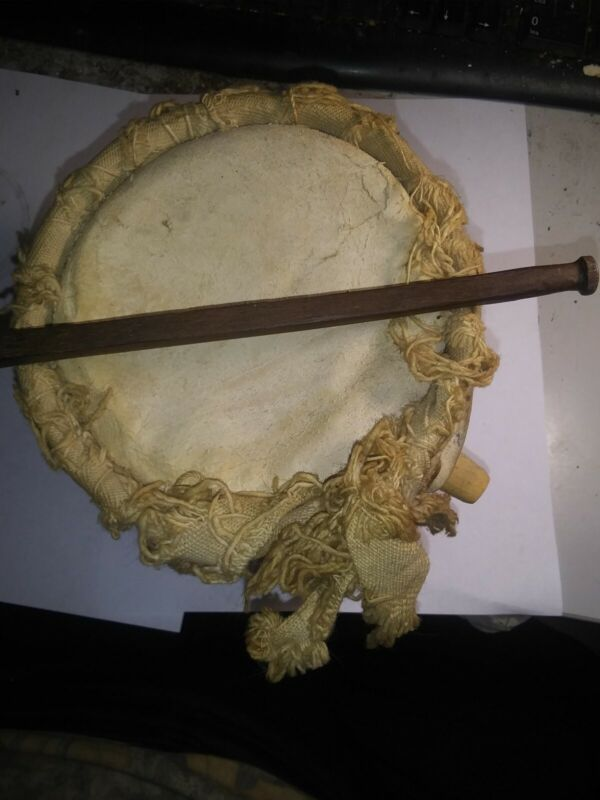 Antique Native American Iroquois Mohawk Ceder Water Drum with Heart stick..