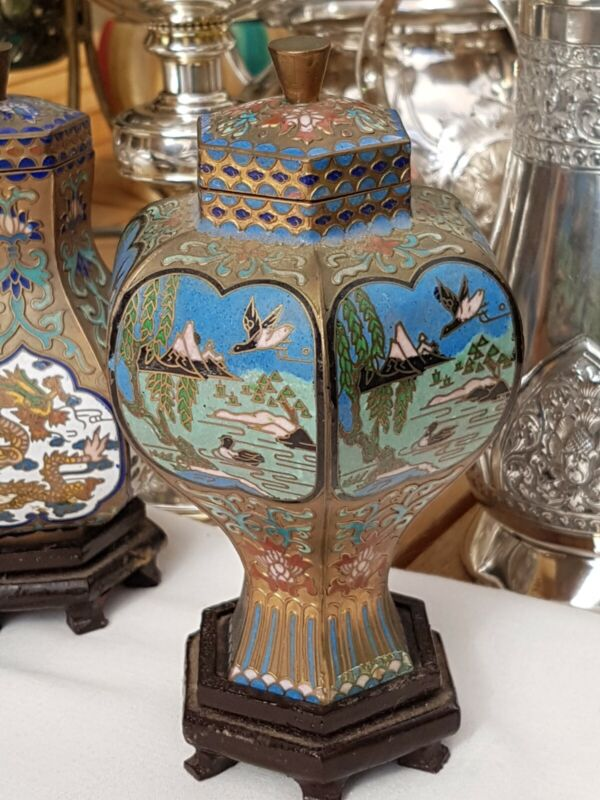 Vintage Chinese Enamel Cloisonne Vase And Stand Estate Item
