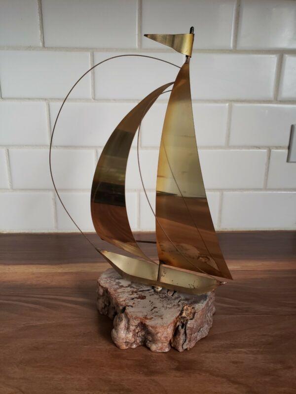"VINTAGE Brass Sailboat Metal On Burl Wood 13""Tall-MCM"