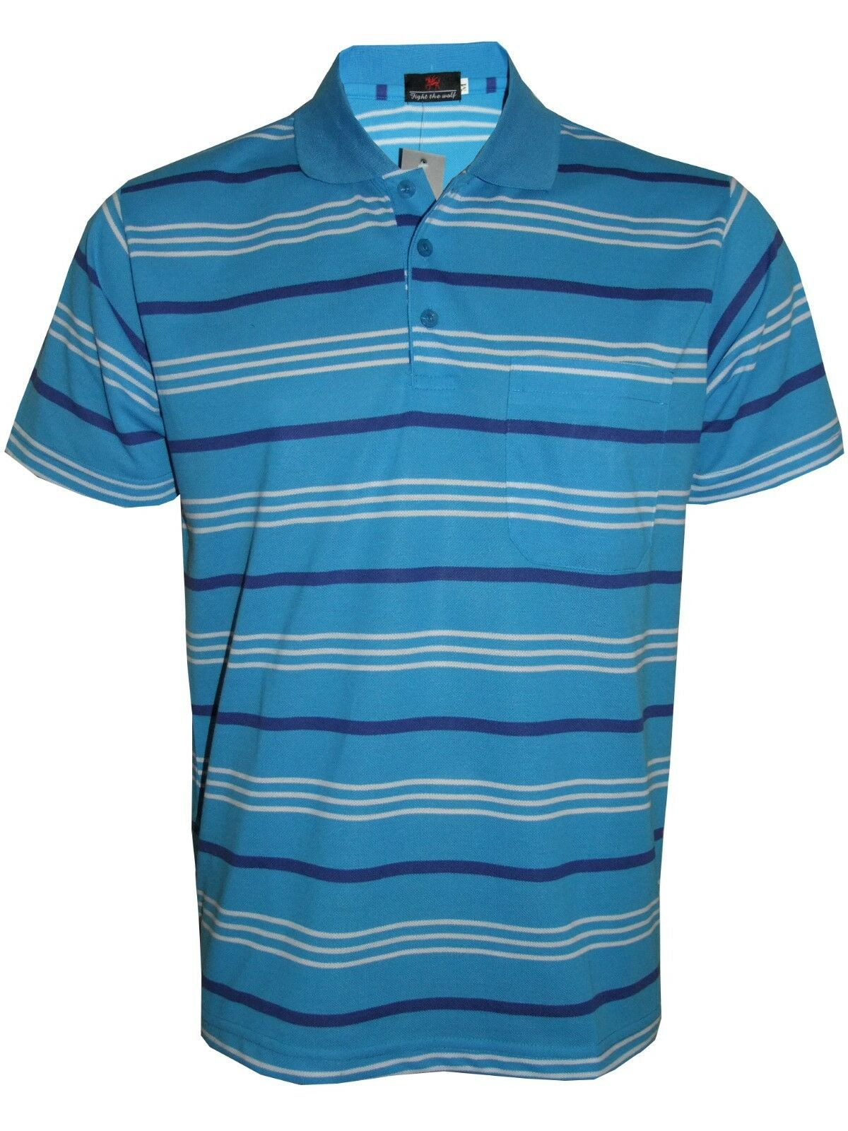 Men's Striped T-Shirts Regular Fit Pique Polo PolyCotton Tops Casual Shirt M-3XL