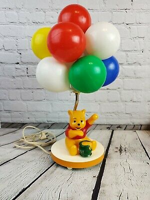 Vintage Winnie the Pooh Plastic Table Lamp With Balloons And Music Box - Works