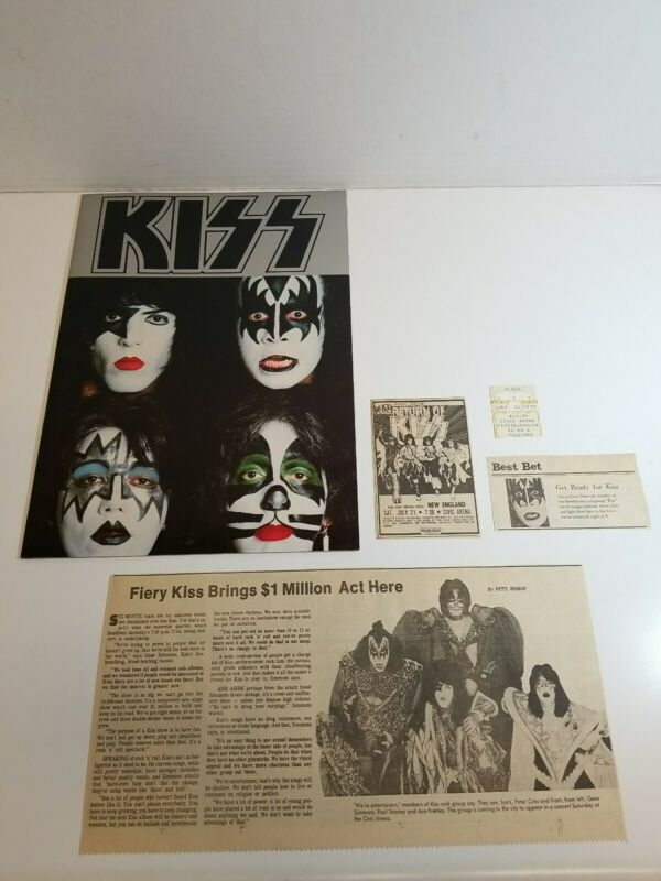 Vintage 1979 KISS Tour Book Lot With Ticket Stub And Newspaper Clippings Rare!