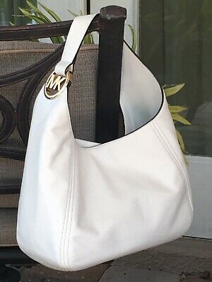 MICHAEL KORS FULTON LARGE HOBO SHOULDER BAG PURSE MK WHITE LEATHER GOLD $398