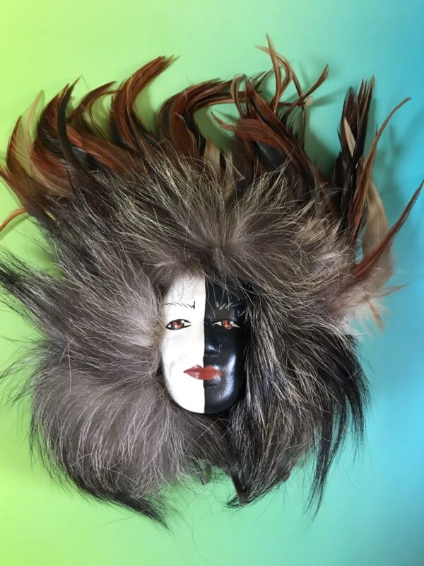 Native American Indian Spirit Mask Fur Feathers Wall Hanging