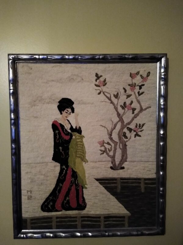 Vintage Crewelwork Geisha Girl Picture Needlework Art MCM