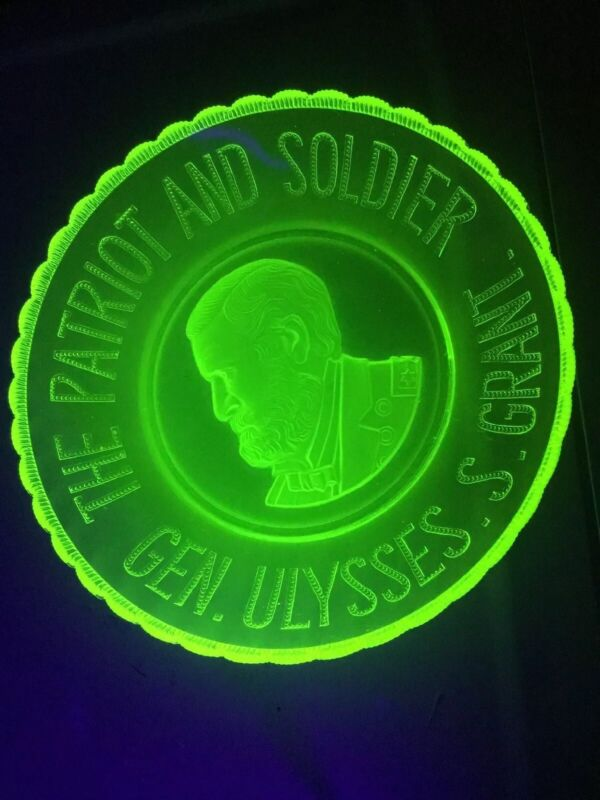 "Bryce Glass EAPG Vaseline 1885 Commemorative Plate Gen. Ulysses S Grant 9 1/2"""