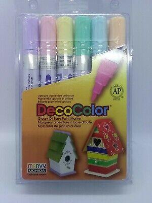 Marvy Uchida DecoColor Paint Marker Pastel Set Broad Point Deco Color Oil Base Gloss Pastel Base Paint